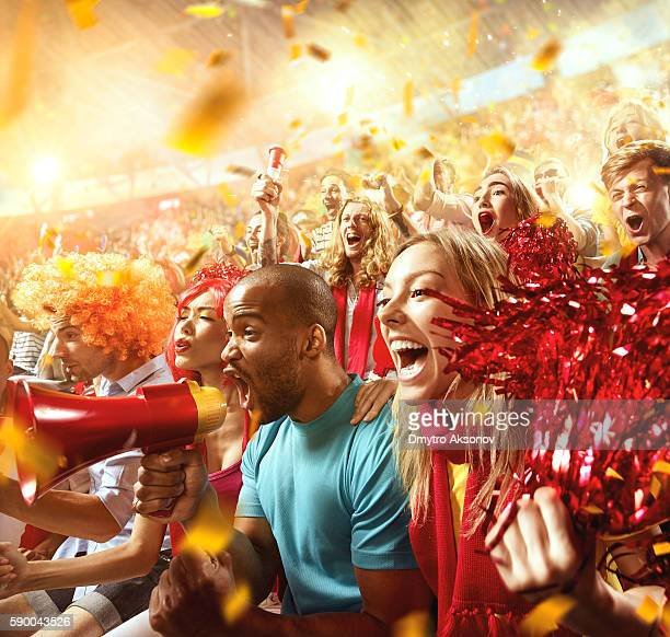 Sport fans: Group of cheering fans