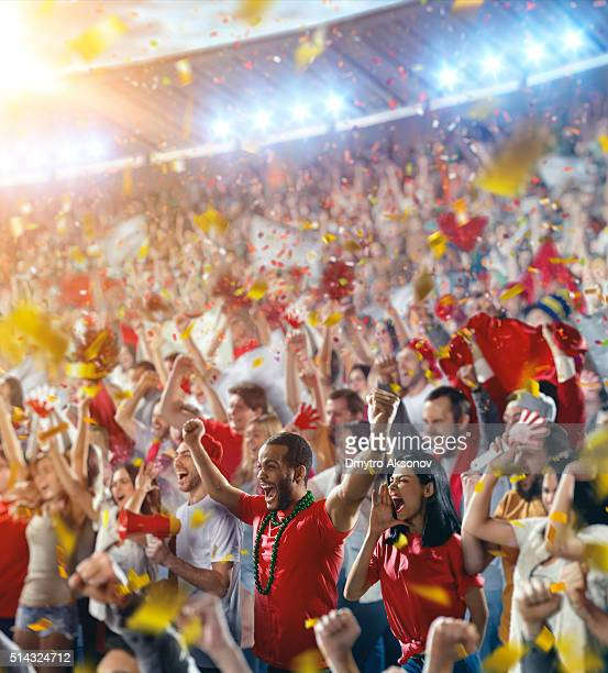 sport fans: happy cheering crowd - supporter stock pictures, royalty-free photos & images
