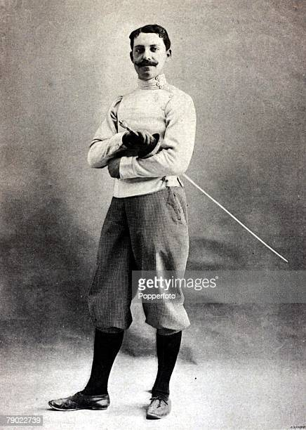 Sport, Fencing, 1900 Olympic Games, Paris, France, Masters Epee Fencing, Albert Ayat, France, the Gold medal winner