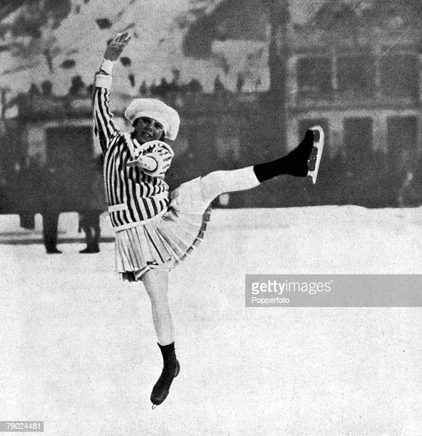 Sport Figure Skating 1924 Winter Olympic Games Chamonix France Norway's Sonja Henie is pictured competing in her first Olympic Games at the age of...