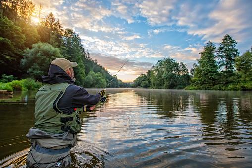 Sport fisherman hunting fish. Outdoor fishing in river 827888510