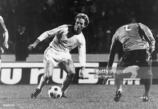 Sport Football 12th May 1976 European Cup Final at Hampden Park Bayern Munich 1 v St Etienne 0 Bayern Munich's KarlHeinz Rummenigge on the ball...