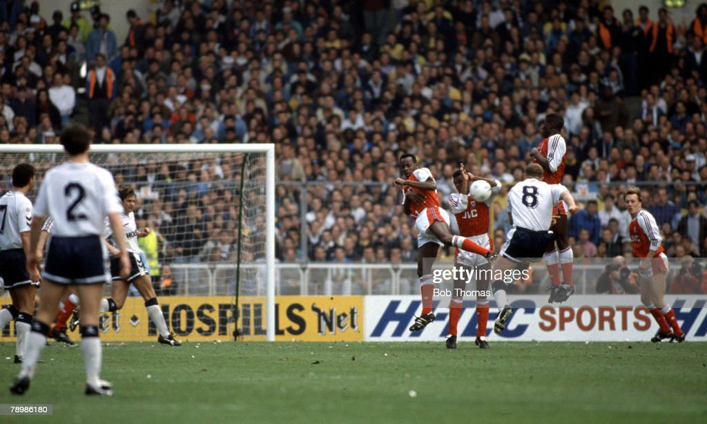Sport. Football. 14th April 1991. F.A.Cup Semi-Final. Wembley. Arsenal (1) Tottenham Hotspur (3). Paul Gascoigne scores his side's first goal from a direct free-kick. : News Photo