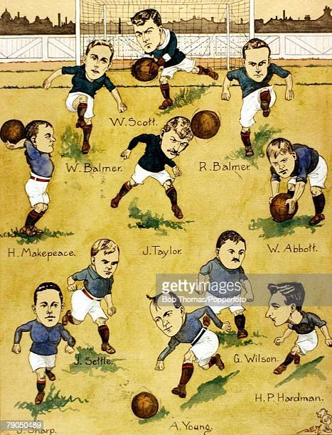 Sport Football 1907 FA Cup final at Crystal Palace London Sheffield Wednesday 2 v Everton 1 The Everton team An illustration by Amos Ramsbottom