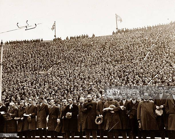 Sport Football 1928 FA Cup Final Wembley London England 21st April 1928 Blackburn Rovers 3 v Huddersfield Town 1 An impressive moment as a section of...