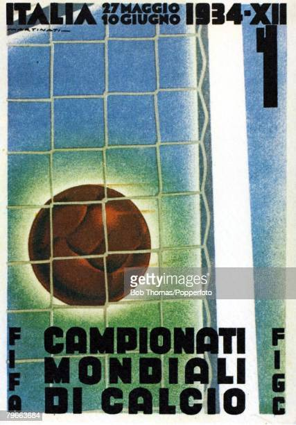 Sport Football 1934 World Cup Finals held in Italy Colour card to promote the 2nd World Cup Finals