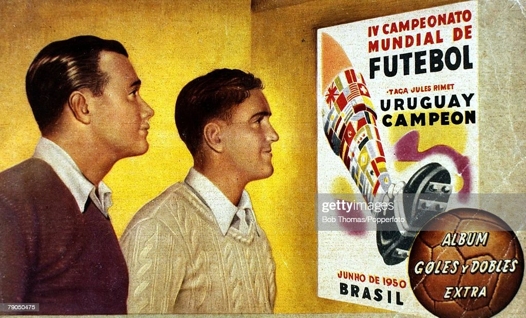 Sport. Football. 1950. 1950 World Cup Finals in Brazil. Cover of a souvenir brochure produced to celebrate Uruguay's World Cup success, as they defeated the host nation 2-1 in the Final played in Rio's Maracana Stadium. : News Photo