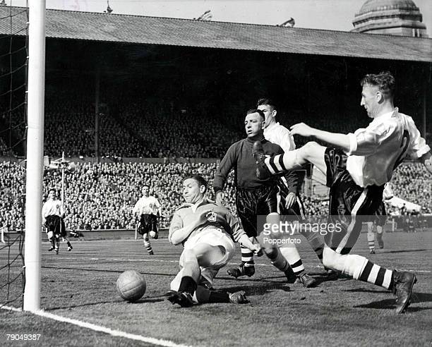 Sport, Football, 1953 FA Cup Final, Wembley Stadium, 2nd May Blackpool 4 v Bolton Wanderers, Blackpool's Stan Mortensen falls to the ground as he...