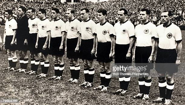 Sport Football 1954 World Cup Final Bern 4th July 1954 West Germany 3 v Hungary 2 West Germany who became the World Champions LR F Walter captain...