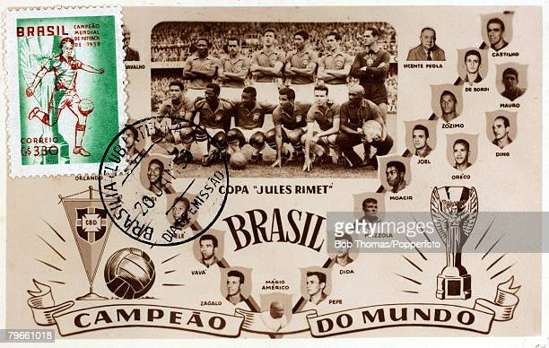 Sport Football 1958 World Cup Finals A Souvenir colour postcard to celebrate Brazil winning the World Cup held in Sweden