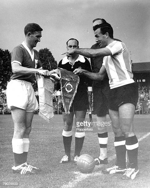 Sport Football 1958 World Cup Finals Halmstad Sweden 11th June 1958 Group 1 Argentina 3 v Northern Ireland 1 Northern Ireland captain Danny...