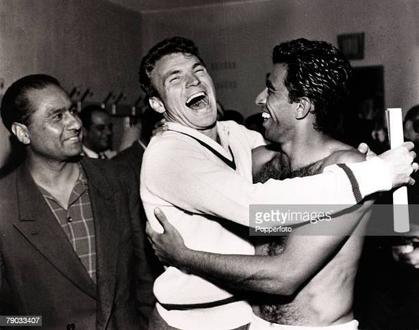 Sport Football 1958 World Cup Finals in Sweden Brazil star Vava hugs teammate Mazzola in the Brazil dressing room Vava played in two World Cup...