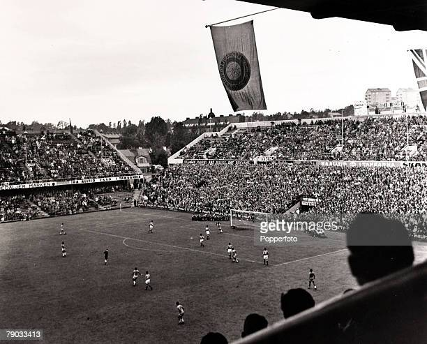 Sport Football 1958 World Cup Finals Stockholm Sweden 24th June 1958 SemiFinal Brazil 5 v France 2 General view from above shows Brazil's Pele...