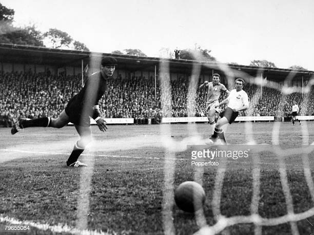 Sport Football 1958 World Cup Finals Uddevalla Sweden pic June 1958 Brazil 3 v Austria 0 Brazil's Jose Altafini centre has beaten Austria goalkeeper...