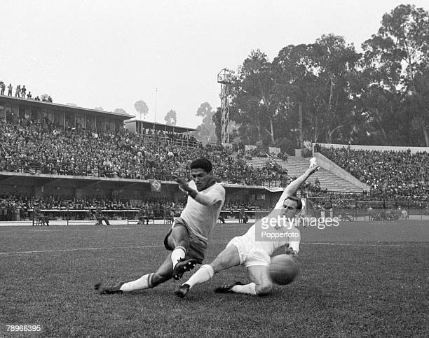 Sport Football 1962 World Cup Finals in Chile Vina Del Mar pic 10th June 1962 Brazil's Garrincha crosses the ball past England defender Ray Wilson