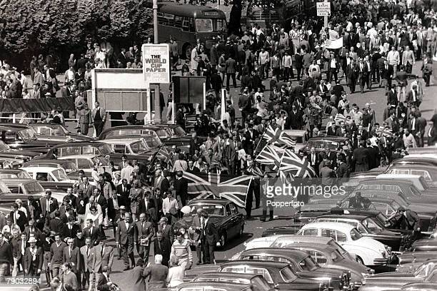 Sport Football 1966 World Cup Final Wembley London England 30th July 1966 England 4 v West Germany 2 Fans some carrying the Union Jack flag approach...