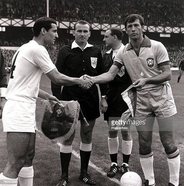 Sport Football 1966 World Cup Finals Goodison Park Liverpool England 12th July 1966 Group 3 Brazil 2 v Bulgaria 0 Bulgaria captain Boris Gagenelov...