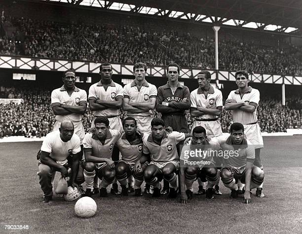 Sport Football 1966 World Cup Finals Goodison Park Liverpool England 12th July 1966 Group 3 Brazil 2 v Bulgaria 0 The Brazil team pose together for a...