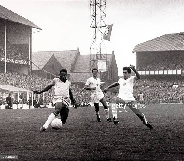 Sport Football 1966 World Cup Finals Goodison Park Liverpool England 12th July 1966 Brazil 2 v Bulgaria 0 Brazil's Pele prepares to shoot as a...