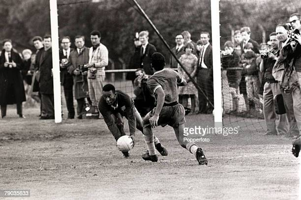 Sport Football 1966 World Cup Finals in England Brazil's Pele playing in goal during a practice match Pele was perhaps the most famous footballer of...