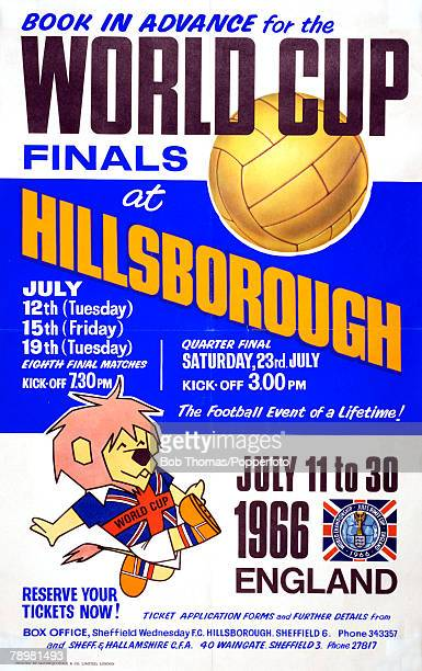 Sport Football 1966 World Cup Finals in England July 1966 Original advertising poster promoting advance ticket sales for the World Cup matches to be...