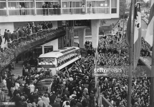 Sport Football 1966 World Cup Finals London pic 1st August 1966 Jubilant England supporters massed in front of the Royal Garden Hotel the morning...