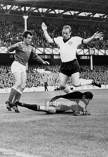 Sport Football 1966 World Cup Finals London pic 25th July 1966 Goodison Park Liverpool SemiFinal West Germany 2 v USSR Soviet goalkeeper Lev Yashin...