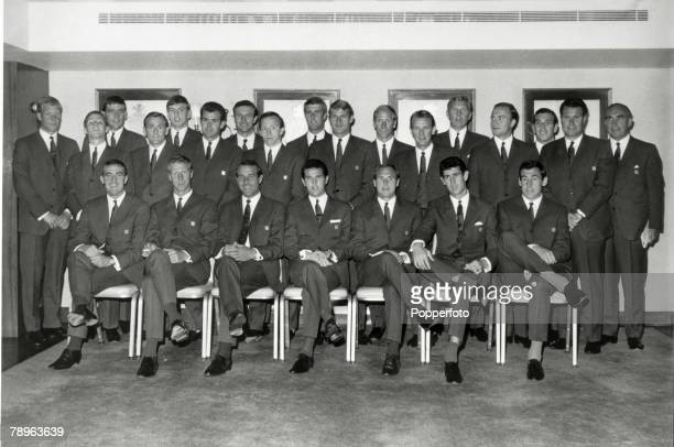 Sport Football 1966 World Cup Finals London The England World Cup Squad pictured at the Hilton Hotel London prior to the tournament Standing Ron...