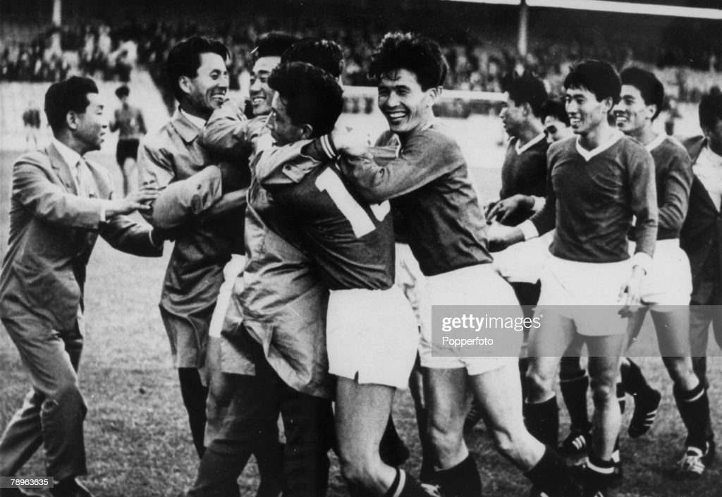 Sport. Football. 1966 World Cup Finals. pic: 19th July 1966. North Korea 1 v Italy 0 at Ayresome Park, Middlesbrough. The unknown teamfrom the Far East defeated the star-studded Italian team with Pak Doo Ik scoring the winning goal with a shot from 20 yar : News Photo