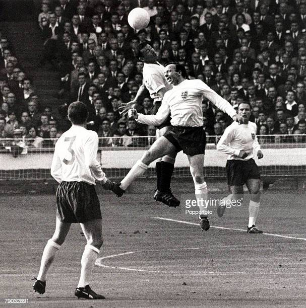 Sport Football 1966 World Cup Finals Wembley London England 11th July 1966 Group 1 England 0 v Uruguay 0 England's Nobby Stiles beaten in the air by...