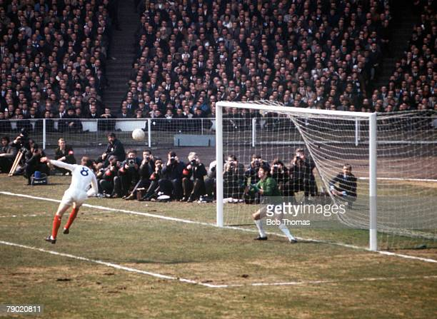 Sport Football 1970 FA Cup Final Wembley Stadium 11th April Chelsea 2 v Leeds United 2 Leeds United's Allan Clarke heads the ball goalwards during...