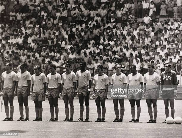 Sport Football 1970 World Cup Finals Guadalajara Mexico 14th June 1970 Quarter Final Brazil 4 v Peru 2 Brazil line up before the game LR Carlos...