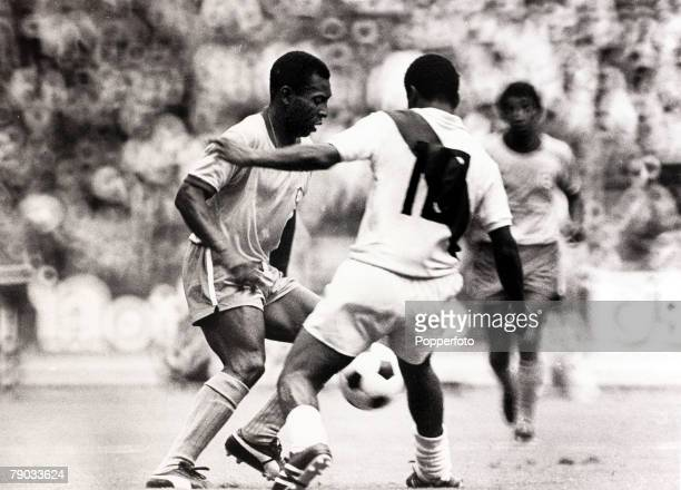 Sport Football 1970 World Cup Finals Guadalajara Mexico 14th June 1970 Quarter Final Brazil 4 v Peru 2 Brazil's Pele is challenged by a Peru defender