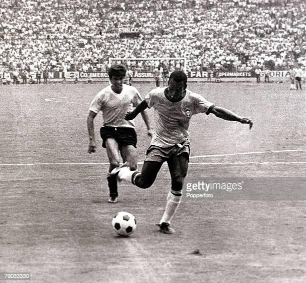Sport Football 1970 World Cup Finals Guadalajara Mexico 17th June 1970 Semi Final Brazil 3 v Uruguay 1 Brazil's Pele beats a Uruguay defender as he...