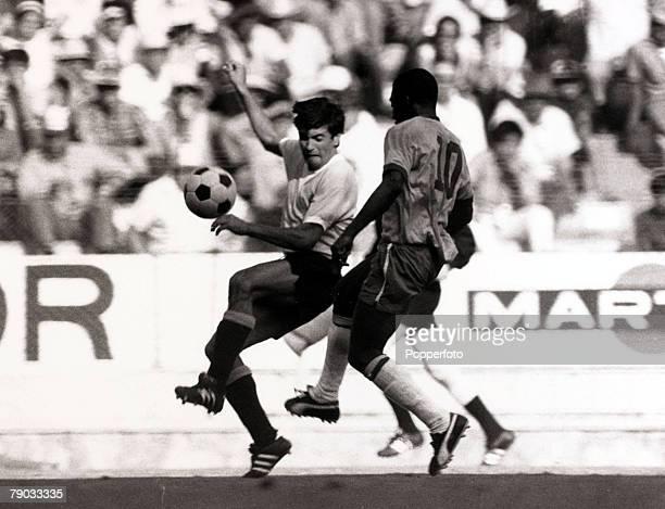 Sport Football 1970 World Cup Finals Guadalajara Mexico 17th June 1970 Semi Final Brazil 3 v Uruguay 1 Brazil's Pele causing problems for Uruguay...