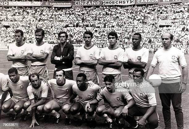 Sport Football 1970 World Cup Finals Guadalajara Mexico 3rd June 1970 Group 3 Brazil 4 v Czechoslovakia 1 Brazil team group before the game Back row...