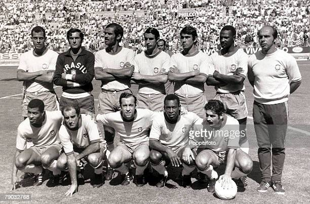 Sport Football 1970 World Cup Finals Guadalajara Mexico Semi Final 17th June 1970 Brazil 3 v Uruguay 1 Brazil line up before the game Back row LR...