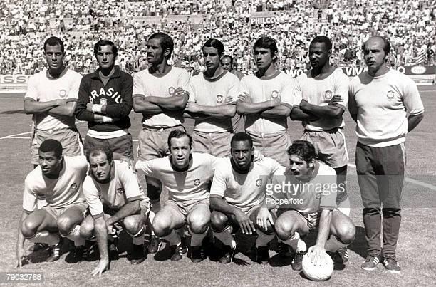 Sport Football 1970 World Cup Finals Guadalajara Mexico Semi Final 17th June 1970 Brazil 3 v Uruguay 1 Brazil line up before the game Back row LR...