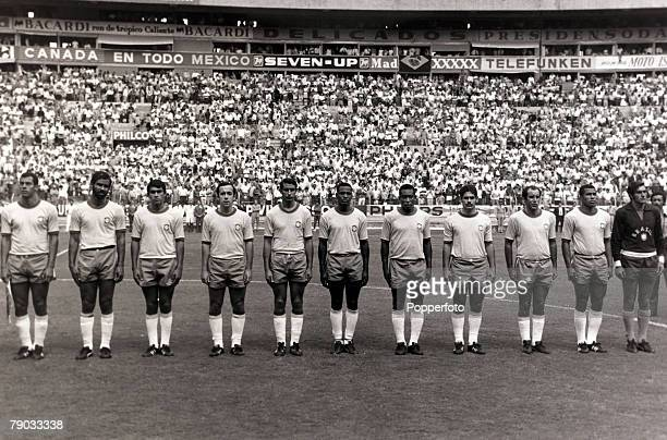 Sport Football 1970 World Cup Finals in Mexico June 1970 A Brazil line up during the World Cup Finals this eleven being the one that contested the...