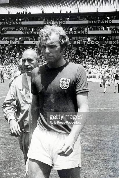 Sport Football 1970 World Cup Finals Leon Mexico pic 14th June 1970 Quarter Final West Germany 3 v England 2 England captain Bobby Moore dejected at...
