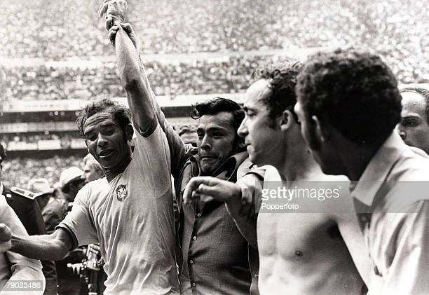 Sport Football 1970 World Cup Finals Mexico City World Cup Final 21st June 1970 Brazil 4 v Italy 1 Brazil's Brito shows his emotions as he has his...