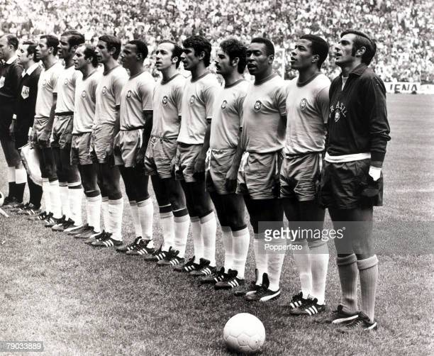Sport, Football, 1970 World Cup Finals, Mexico City, World Cup Final, 21st June 1970, Brazil 4 v Italy 1, The Brazil team line up before the game,...