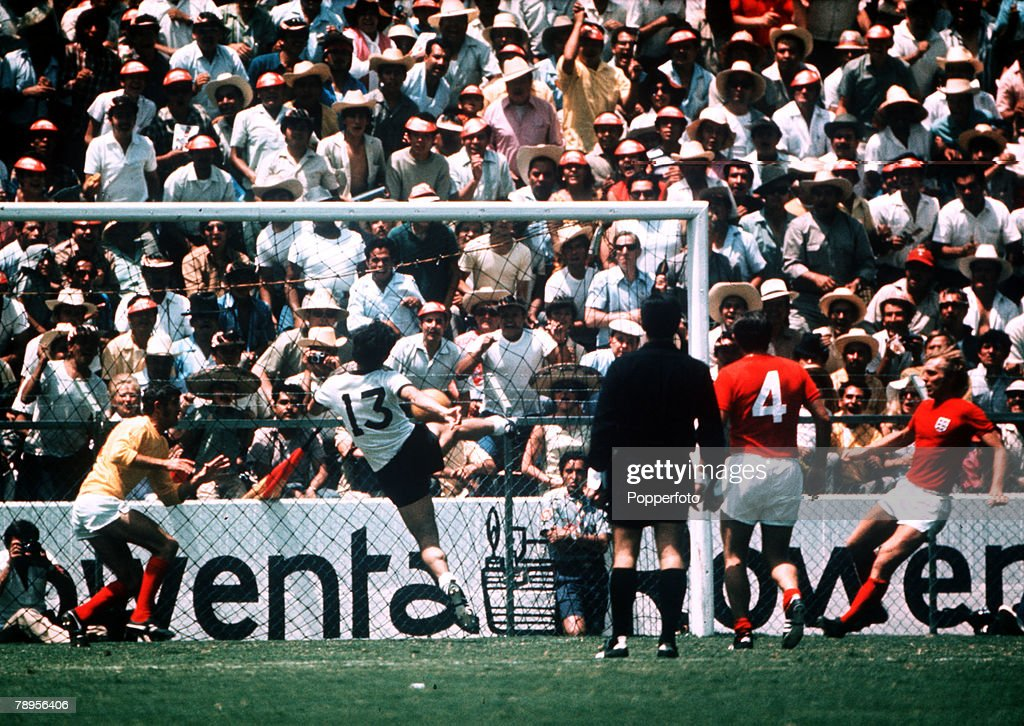 Sport. Football. 1970 World Cup Finals. Quarter Final. Leon, Mexico. 14th June 1970. West Germany 3 v England 2. West Germany's Gerd Muller (13) scores the winning goal past England goalkeeper Peter Bonetti. : News Photo