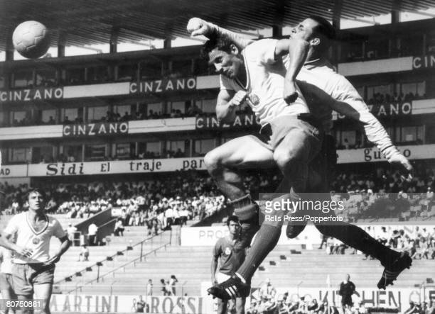 Sport Football 1970 World Cup Finals Toluca Mexico pic June 1970 Morocco 1 v Bulgaria 1 Morocco goalkeeper Kassou punches clear under pressure from...