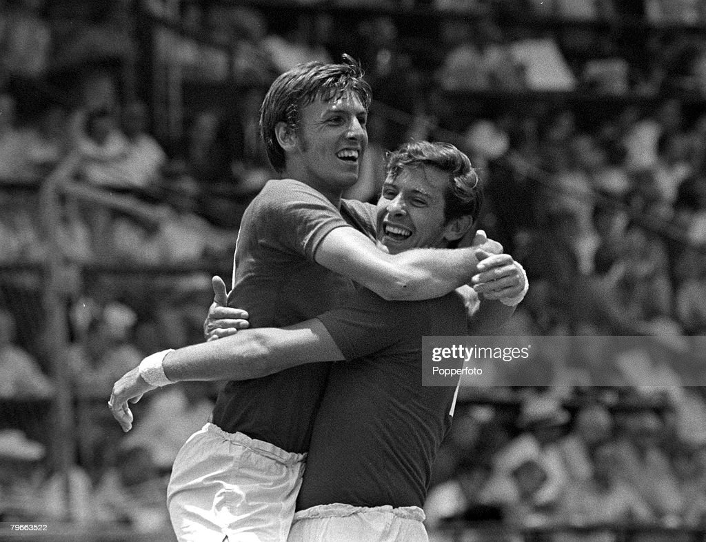 Sport, Football, 1970 World Cup Quarter-Final, Leon, Mexico, 14th June 1970, West Germany 3 v England 2, England's Alan Mullery (right) is congratulated by Martin Peters after he had scored the first goal : News Photo