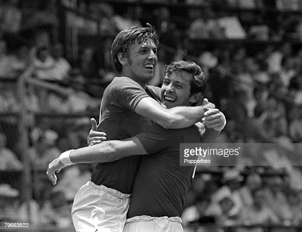 Sport Football 1970 World Cup QuarterFinal Leon Mexico 14th June 1970 West Germany 3 v England 2 England's Alan Mullery is congratulated by Martin...