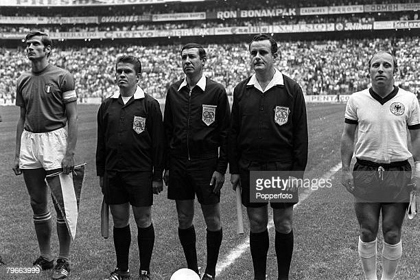 Sport Football 1970 World Cup Semi Final Mexico City Mexico 17th June 1970 Italy 4 v West Germany 3 Italian captain Giacinto Facchetti stands with...