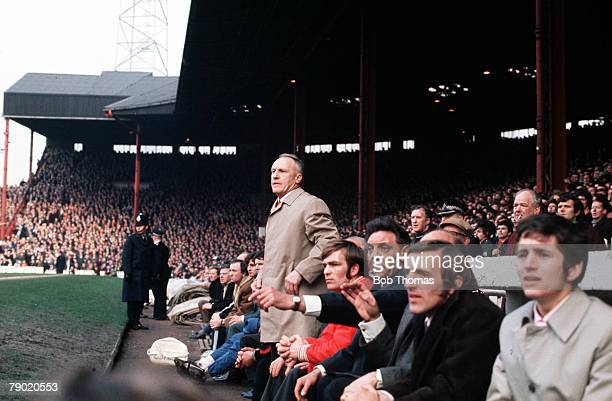Sport Football 1970's Members of the Liverpool bench watch events take place on the pitch Pictured standing is legendary Manager Bill Shankly Also...