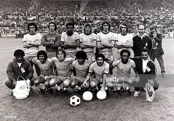 Sport Football 1974 World Cup Finals Frankfurt West Germany 13th June 1974 Brazil 0 v Yugoslavia 0 The Brazil team pose before the game the team...