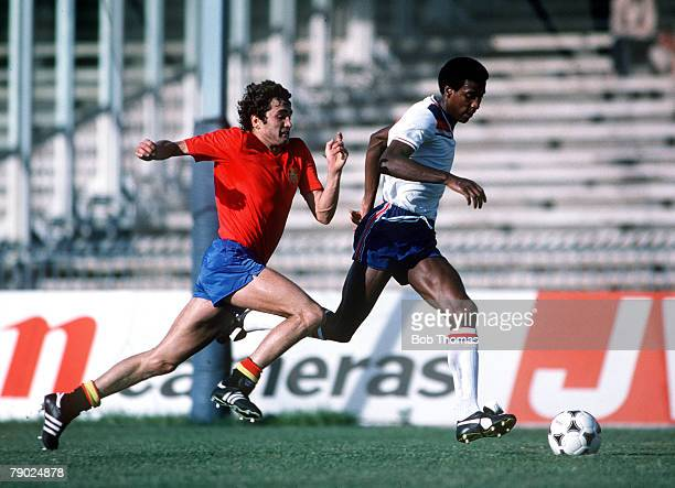 Sport Football 1980 European Championships Naples Italy 18th June 1980 Group Two England 2 v Spain 1 England's Viv Anderson is chased by Spain's...